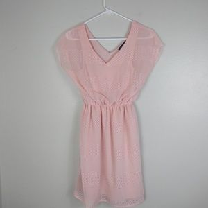 City Triangles Pink Eyelet Dress Small